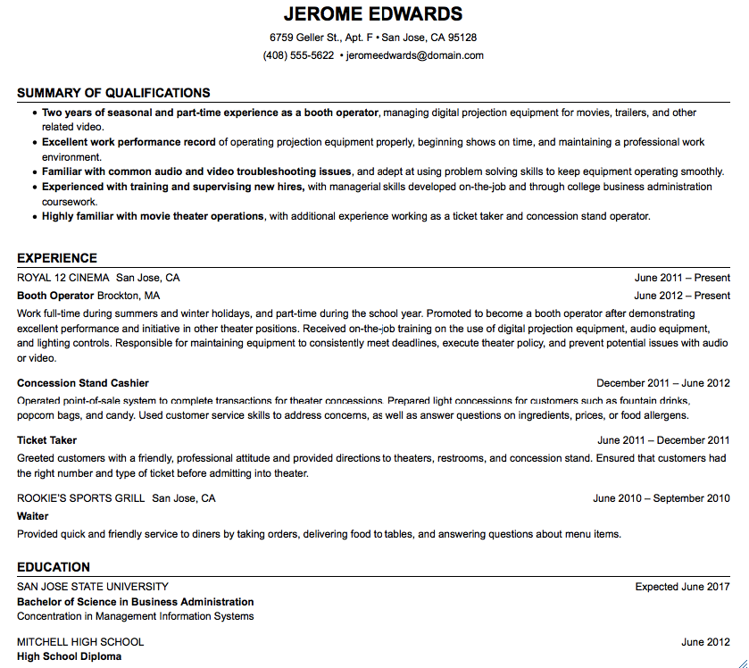 Example Of Booth Operator Resume