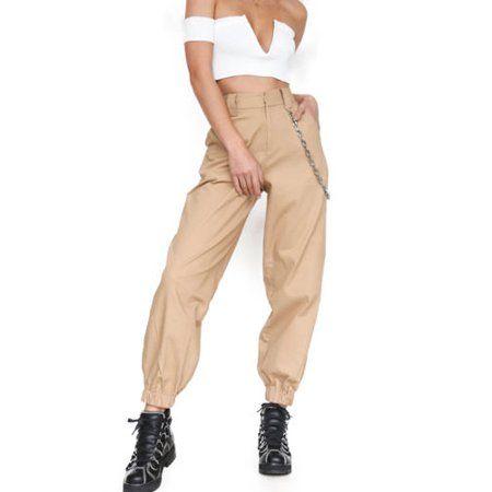 Womens Loose Causal Trousers Costume Combat Cargo High Waist Harem Hip Hop Pants