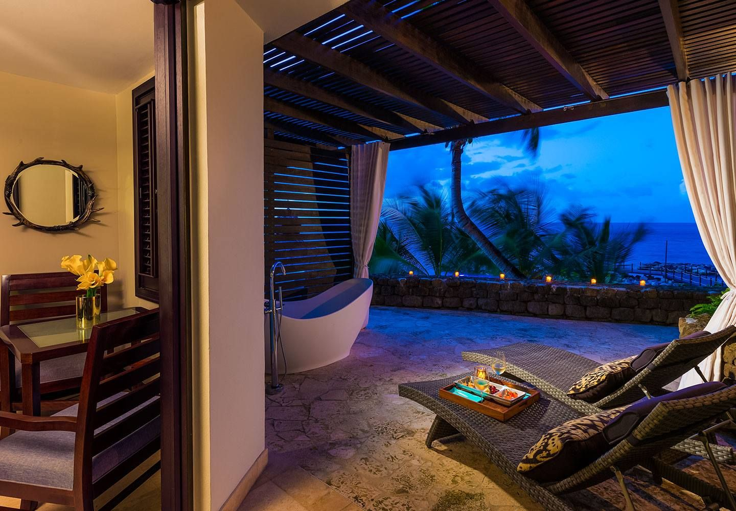 Pink Gin Oceanview Room with Veranda Tranquility Soaking Tub. #Sandals #Grenada #UnlimitedTrips