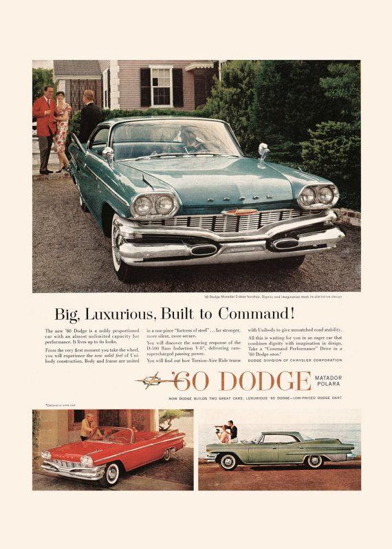 1960 Dodge Car Ad Vintage Ad Car Poster Professional