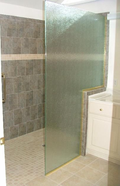 Superb Rain Glass Shower Panel With Notch For Knee Wall Installed In Newport News  Virginia