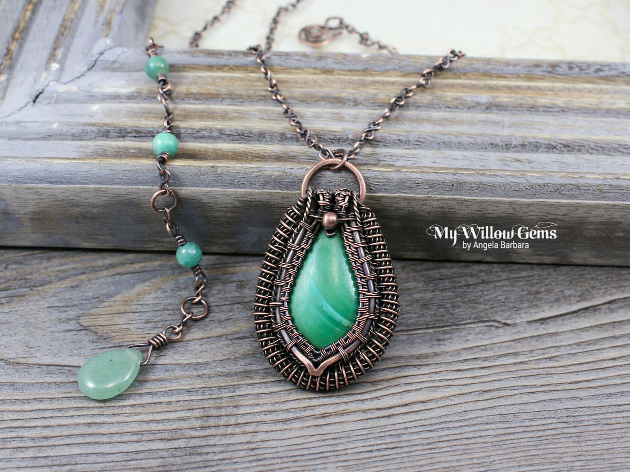 "https://flic.kr/p/EtsdJq | Wire Wrapped Malachite Necklace | OOAK Copper and Gemstone Pendant with Handmade Chain.  Approximate pendant size: 1.3""w X 2.0""l with hoop bail. Chain Length: 18"" - 22"" adjustable ."