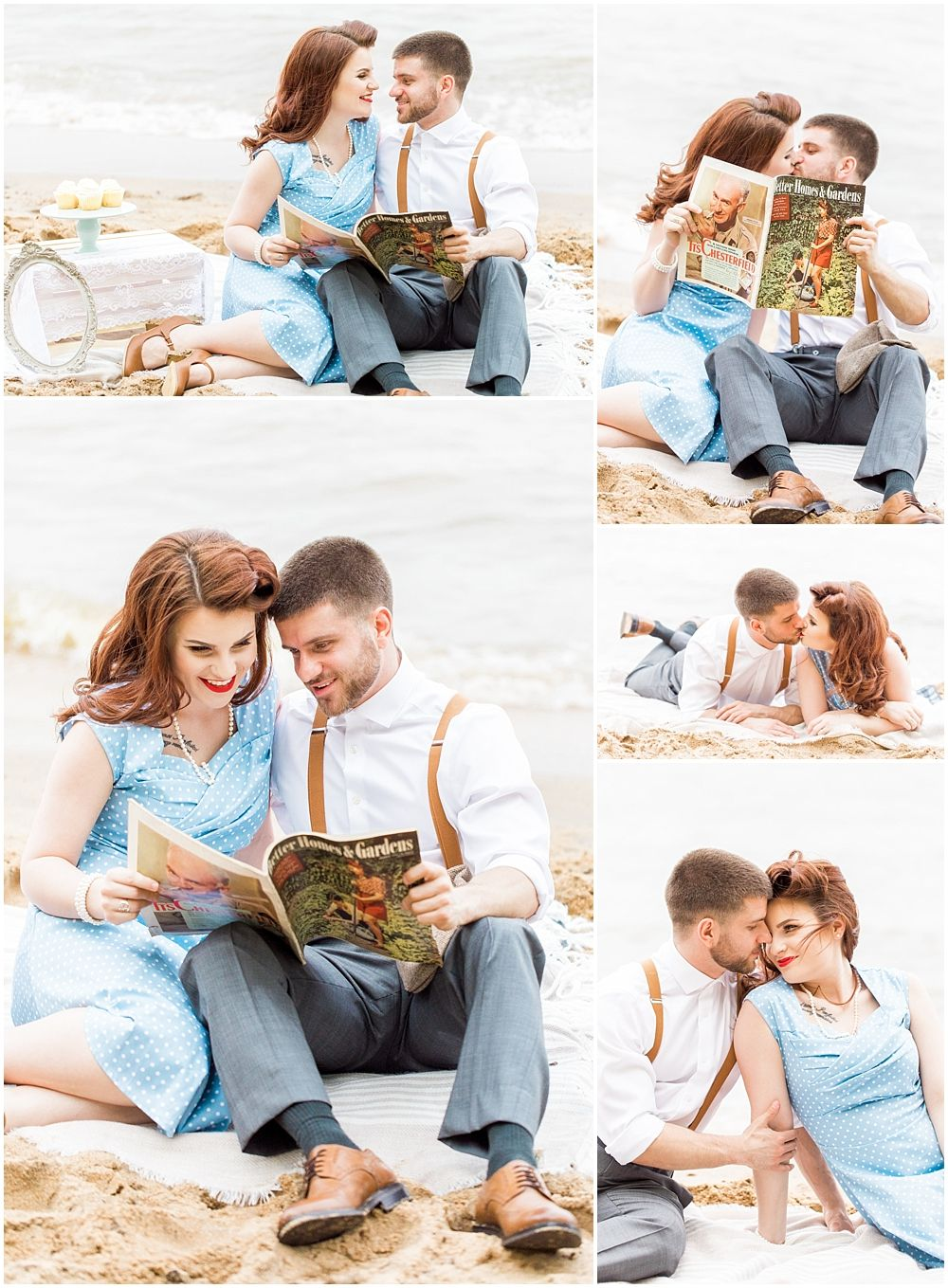 Annapolis Wedding Photographer. 1940s Themed Beach Engagement ...