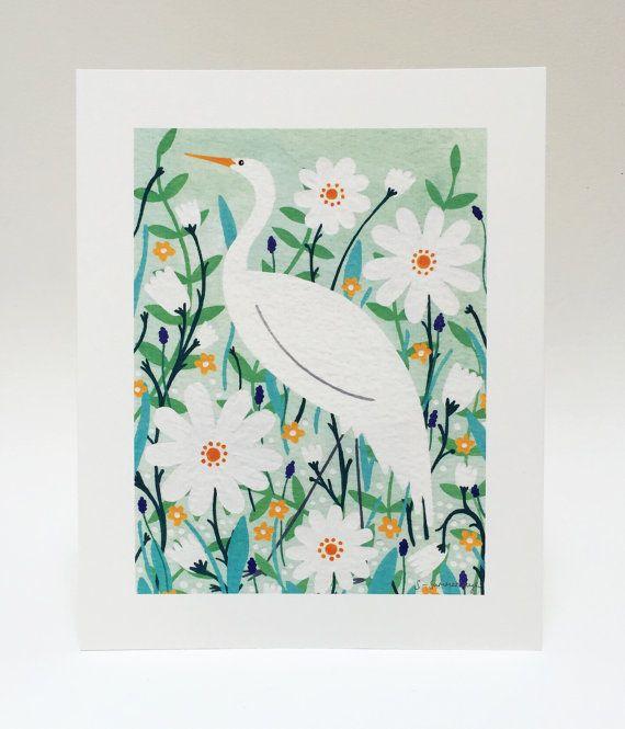 Elegant Stork Art Print