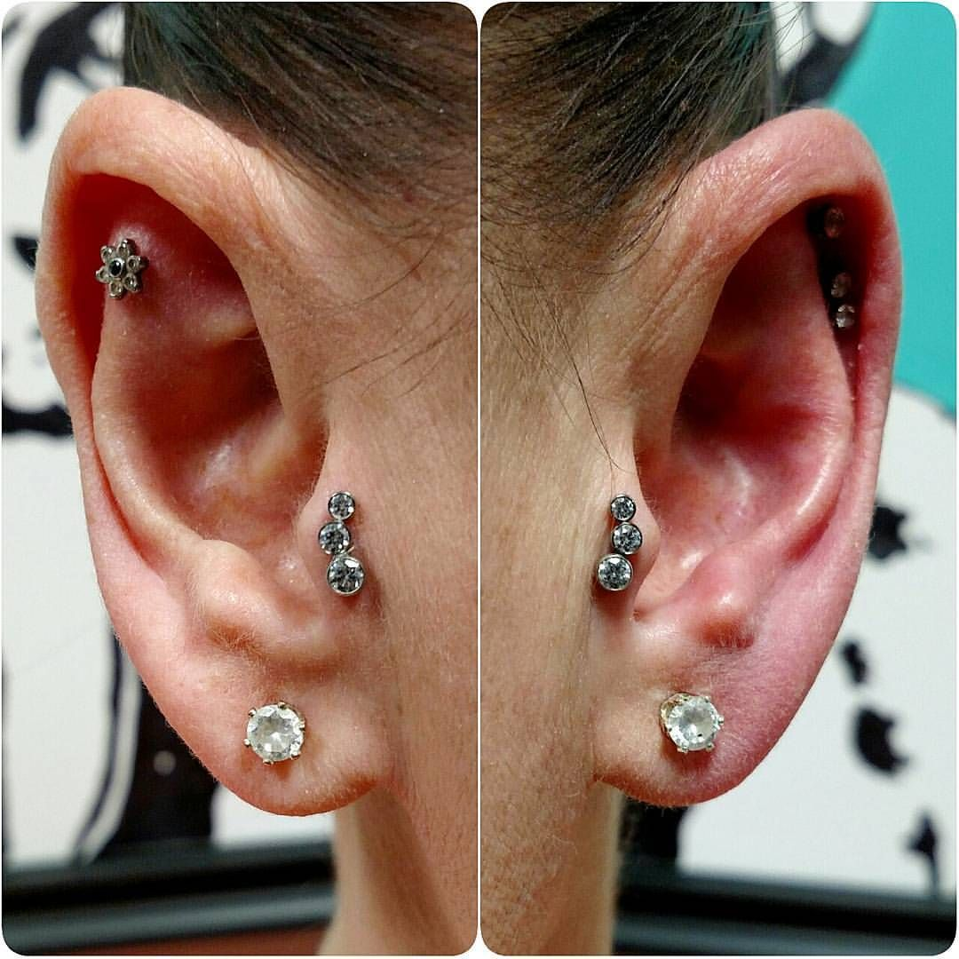 Healed up nose piercing  Tragus tragus tragus Two year healed left and fresh right now with
