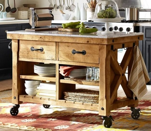 Rustic Pallet Kitchen Island Cart