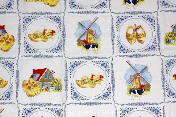 Delfts blauw katoen stof - Nederlandse print - blauw met geel en rood - Fat Quarter