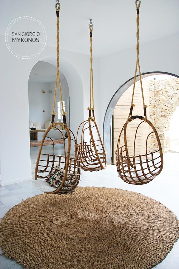 San Giorgio Hotel Mykonos, Greece, Reception, Interior, Bohemian, Baskets, Carpet, Brown, White, Decor