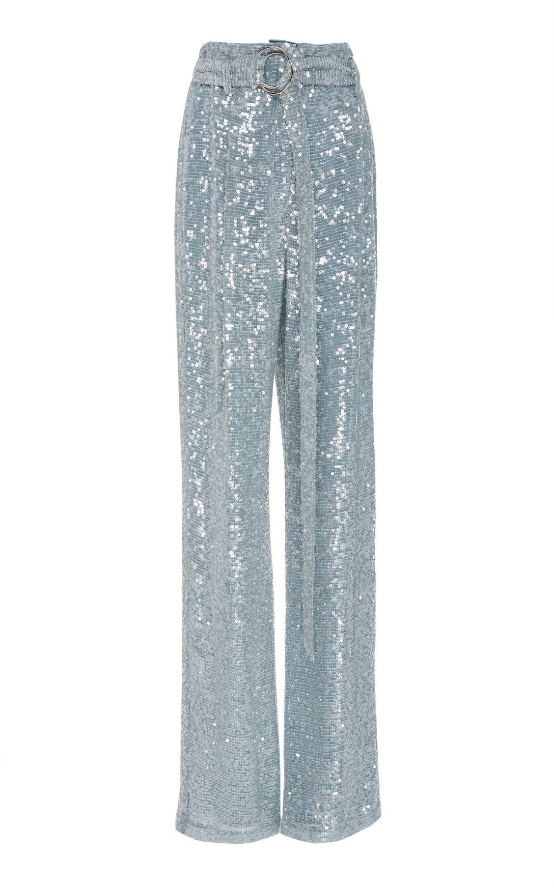 49531e4bffa2a High-Rise Belted Sequin Straight-Leg Pants by Sally LaPointe PF19 ...