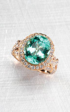 13b2d6f5c3c Le Vian 18k Strawberry Gold with neon blue-green Mozambique paraiba  tourmaline and Chocolate and Vanilla Diamonds