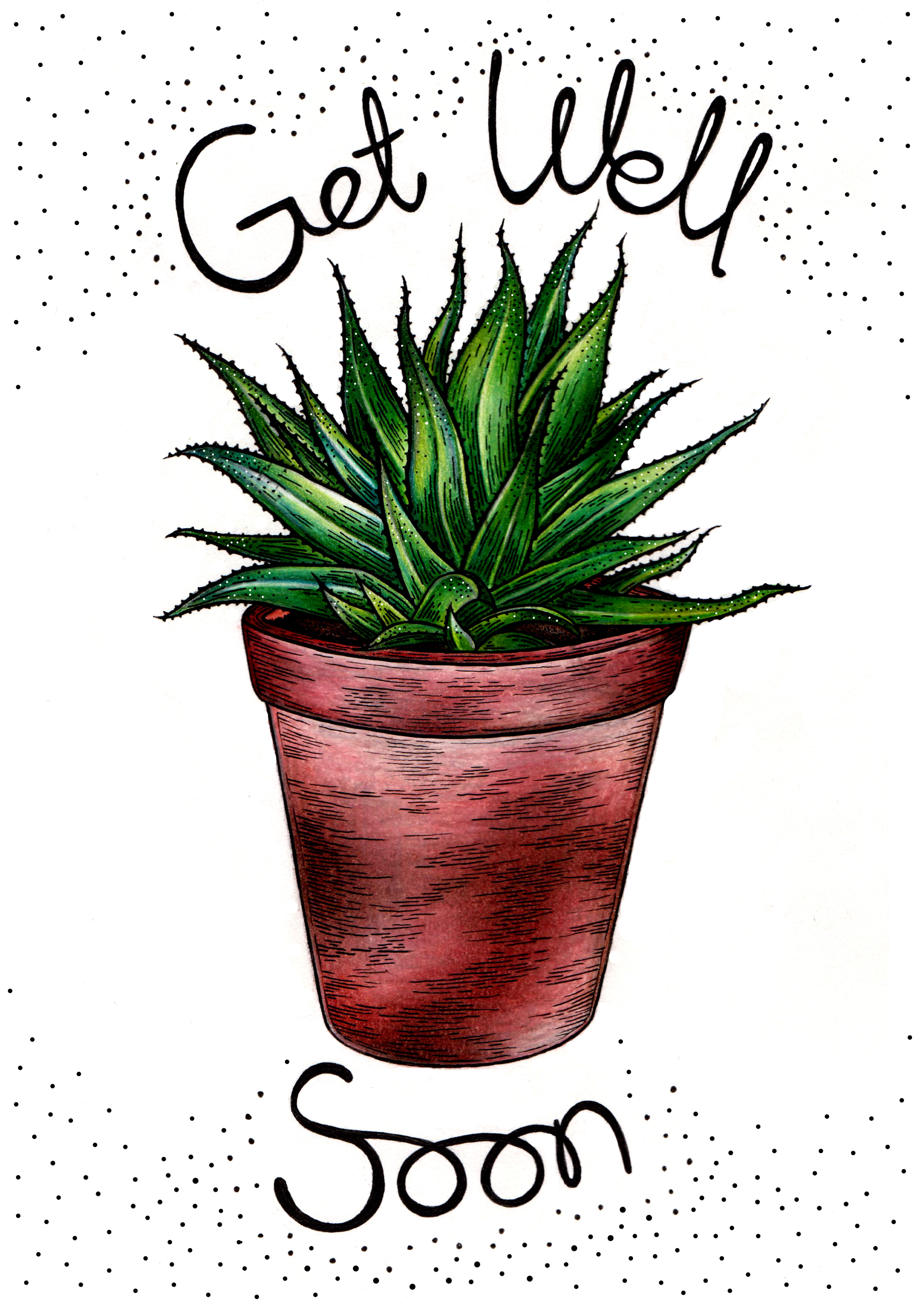 Get Well Soon Aloe Vera Greetings Card Design By Laura Dumbrell My