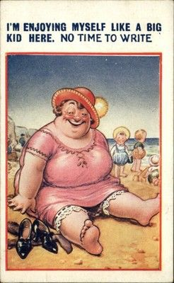 Refuse. You Fat lady on beach
