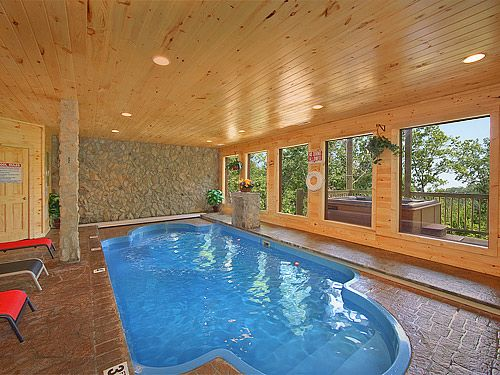 Splashing Sunrise Private Indoor Heated Pool Log Cabin 2 Bedroom
