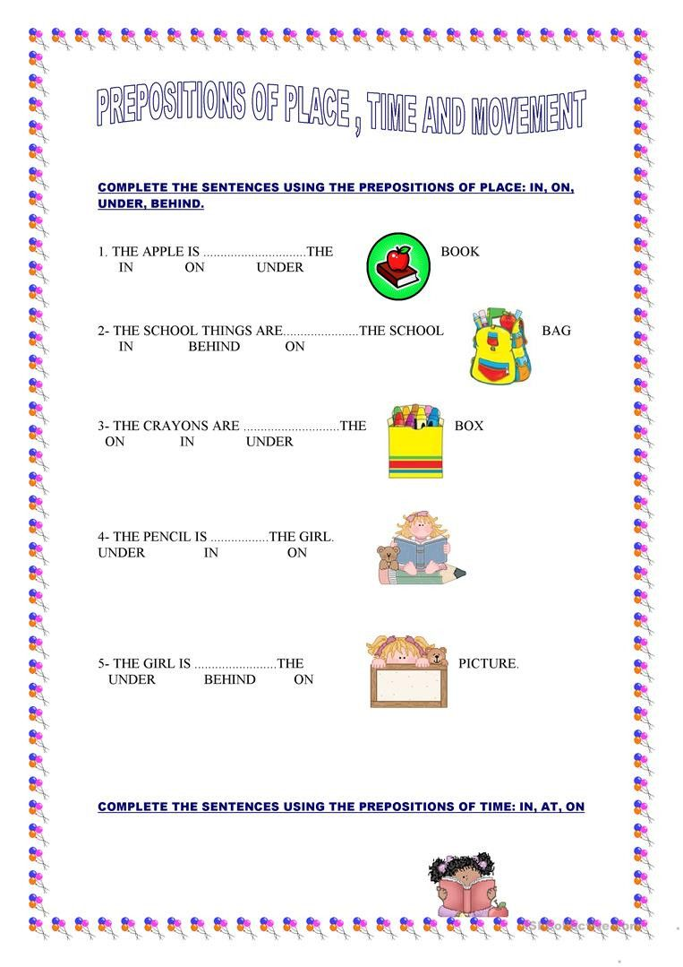 Preposition Worksheets For Grade 1 Prepositions Of Place Time And Movement English Esl In 2020 1st Grade Worksheets Prepositions Preposition Worksheets