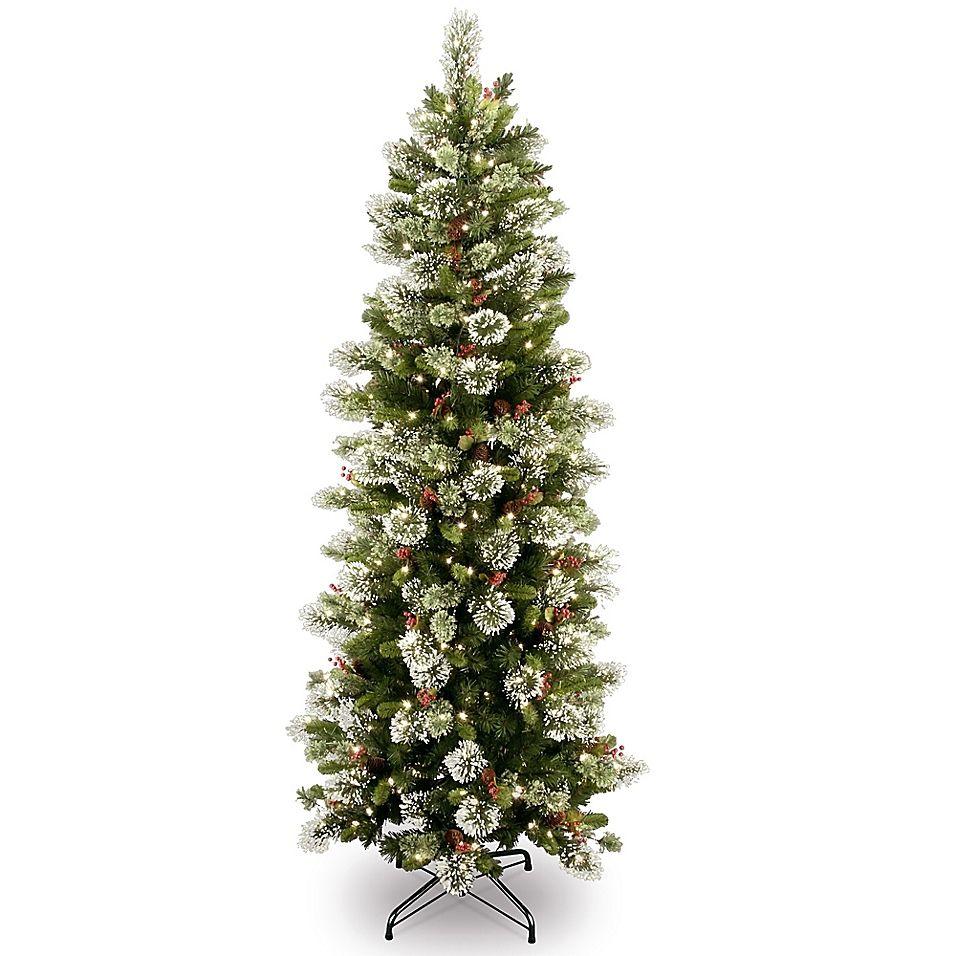 National Tree Company 6 1 2 Pre Lit Wintry Slim Pine Artificial Christmas Tree Slim Artificial Christmas Trees Artificial Christmas Tree Green Christmas Tree