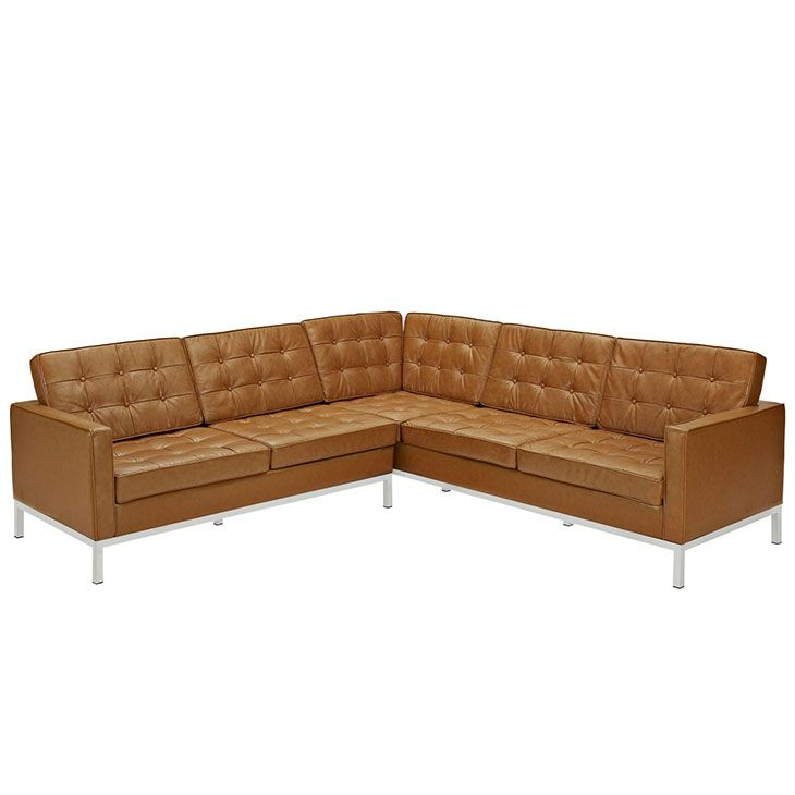 Mid Century Modern Bonded Leather Living Room Sofa Camel: LexMod - Loft L-Shaped Leather Sectional Sofa