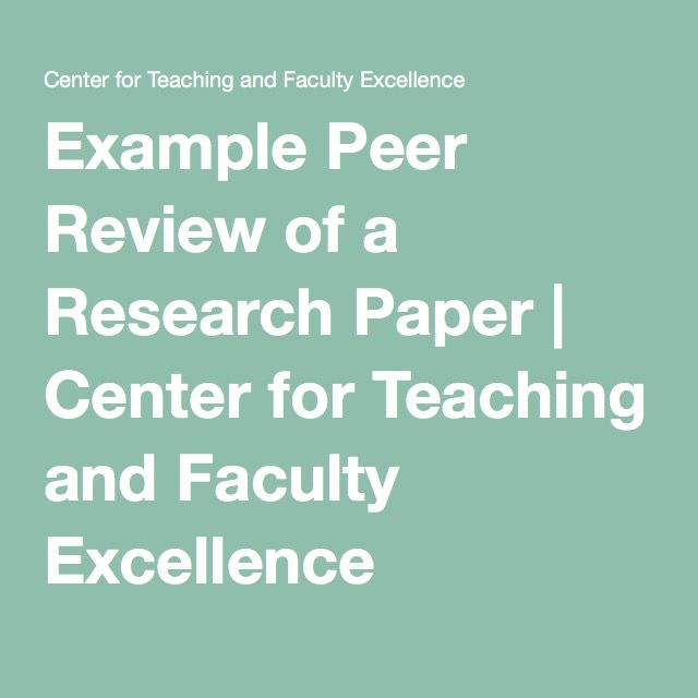 Example Peer Review Of A Research Paper  Center For Teaching And