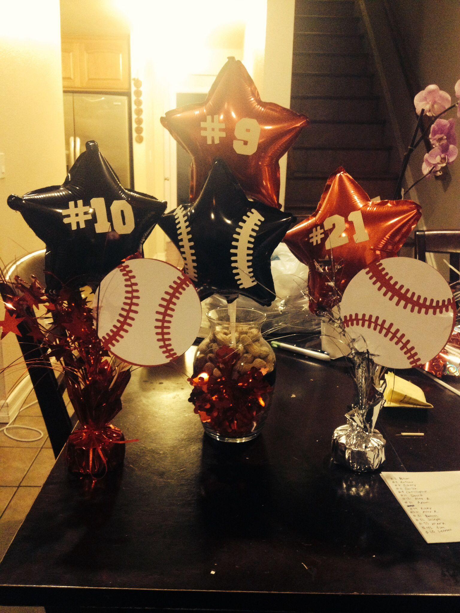 Baseball banquet centerpieces pinterest