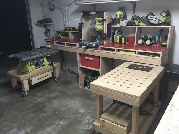 RYOBI NATION - Miter Bench with Rolling Carts