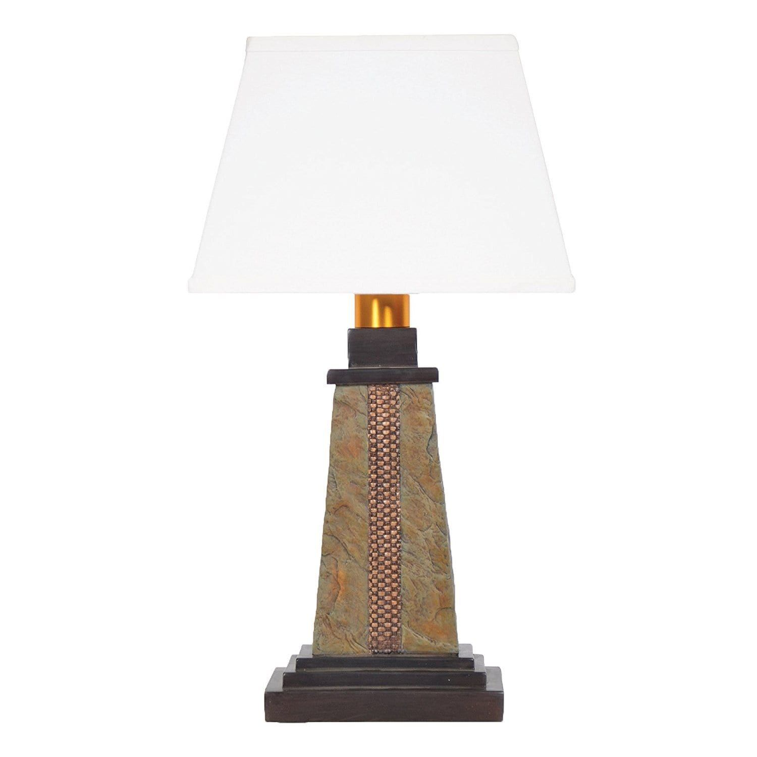Global Torch Light DS913B Deluxe Slate (Grey) Wicker Wireless All Weather Table  Lamp (Gold)