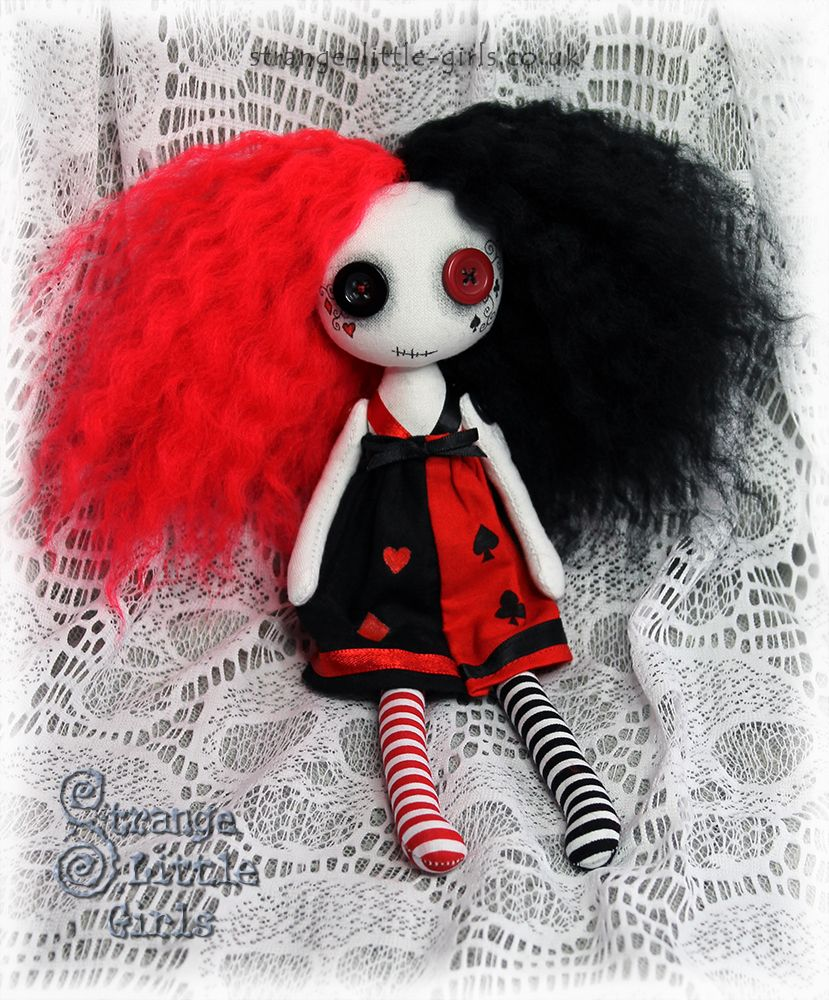 A custom button eyed Gothic art doll in red and black with playing ...
