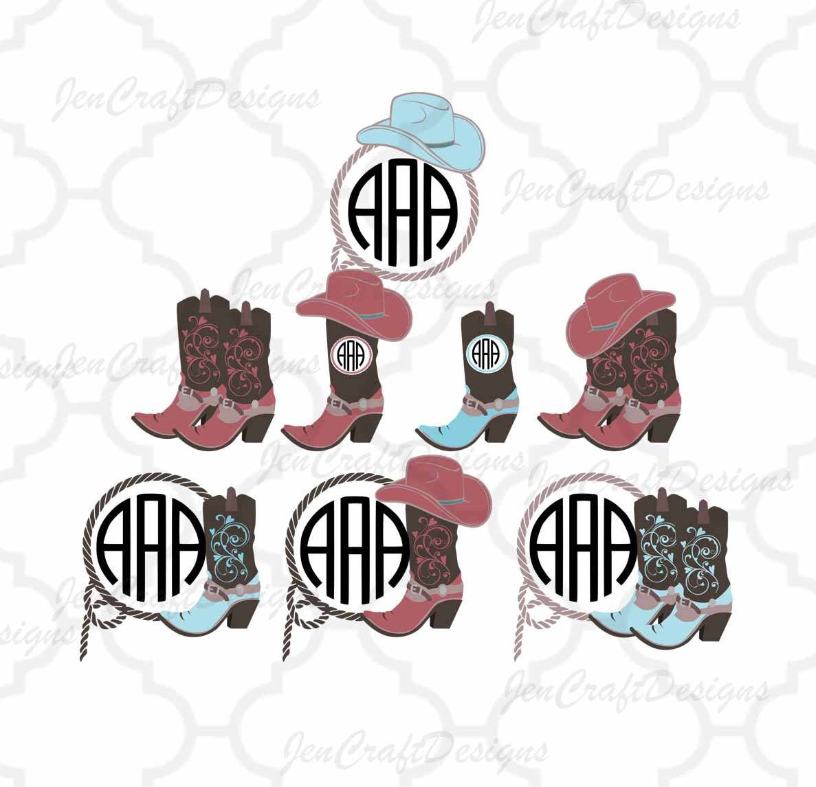 Cowgirl Svg, Cowgirl Monogram SVG, Cowgirl Hat Monogram, Cowgirl ...
