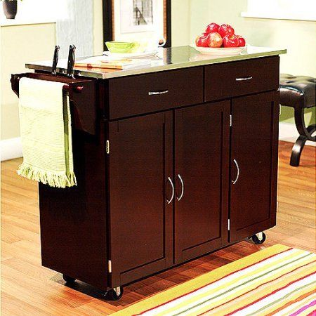 Indoor Extra Large Kitchen Cart Storage Rolling Island Wood Utility Cabinet  Top Portable Table Espresso With