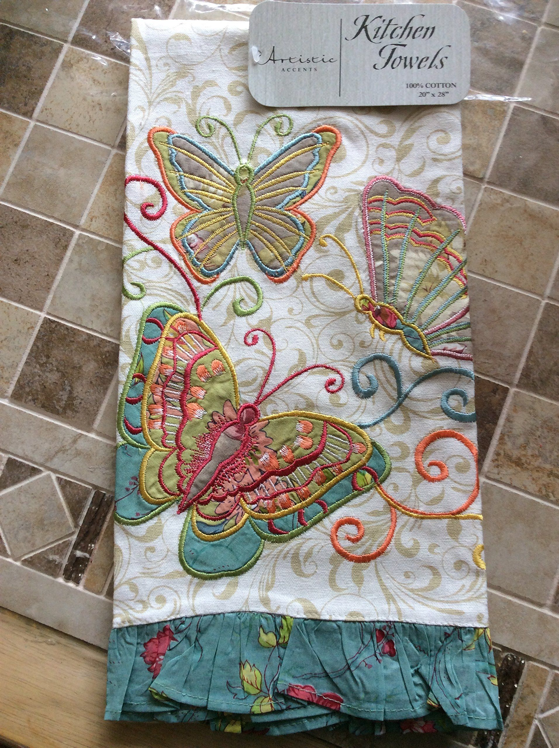 Beautiful Amazon.com   Artistic Accents Beautiful Butterflies Kitchen Towels
