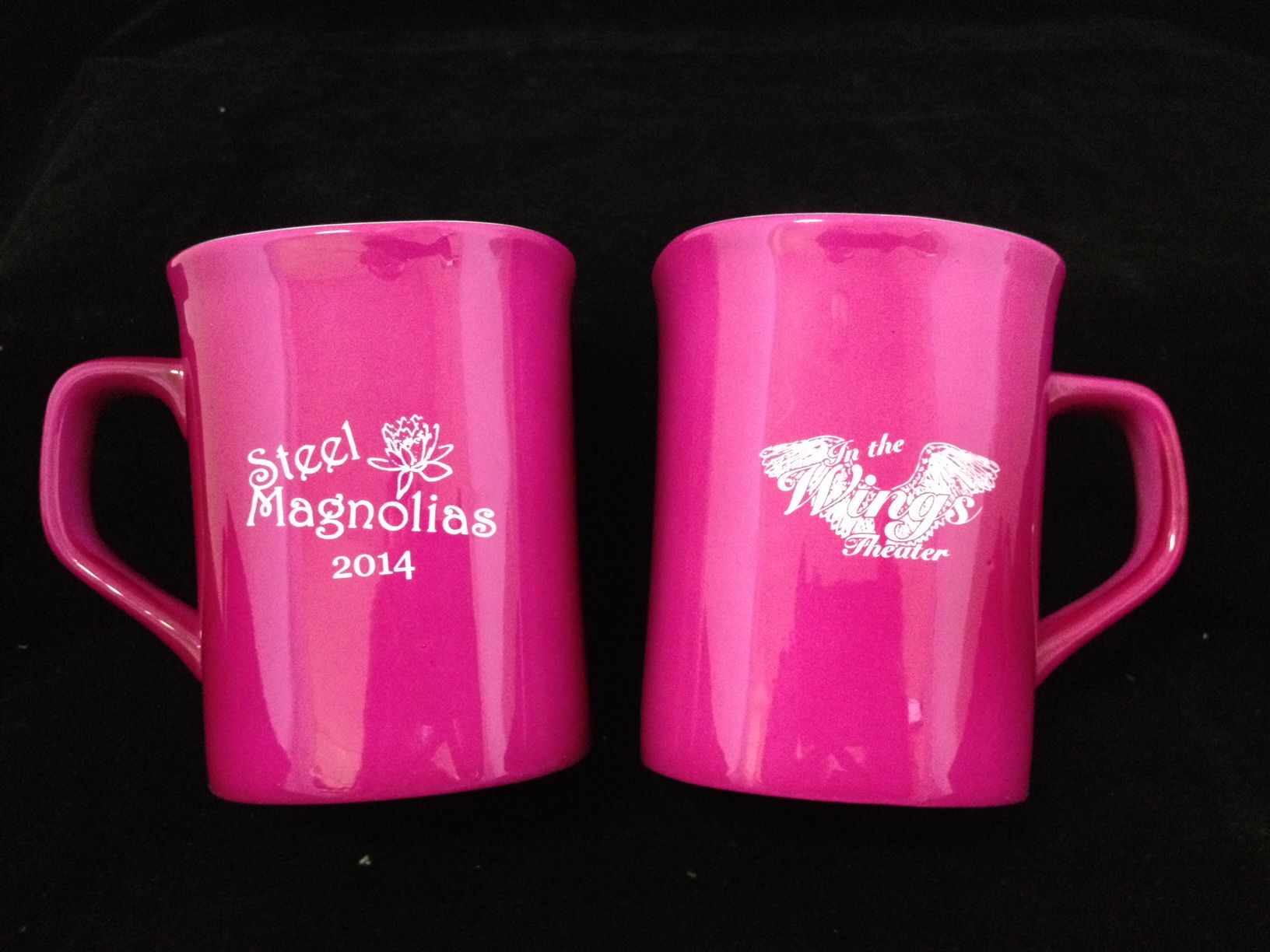 Pink Ceramic Mugs, Laser engraved for a Theater and the play ...