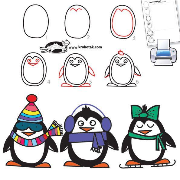 Dessiner un pingouin en 6 tapes hiver easy christmas drawings drawings et christmas drawing - Apprendre a dessiner un pingouin ...