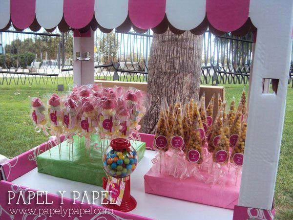 Fiesta de cumplea os en rosa y verde carrito de chuches - Decoracion cumpleanos infantiles ...