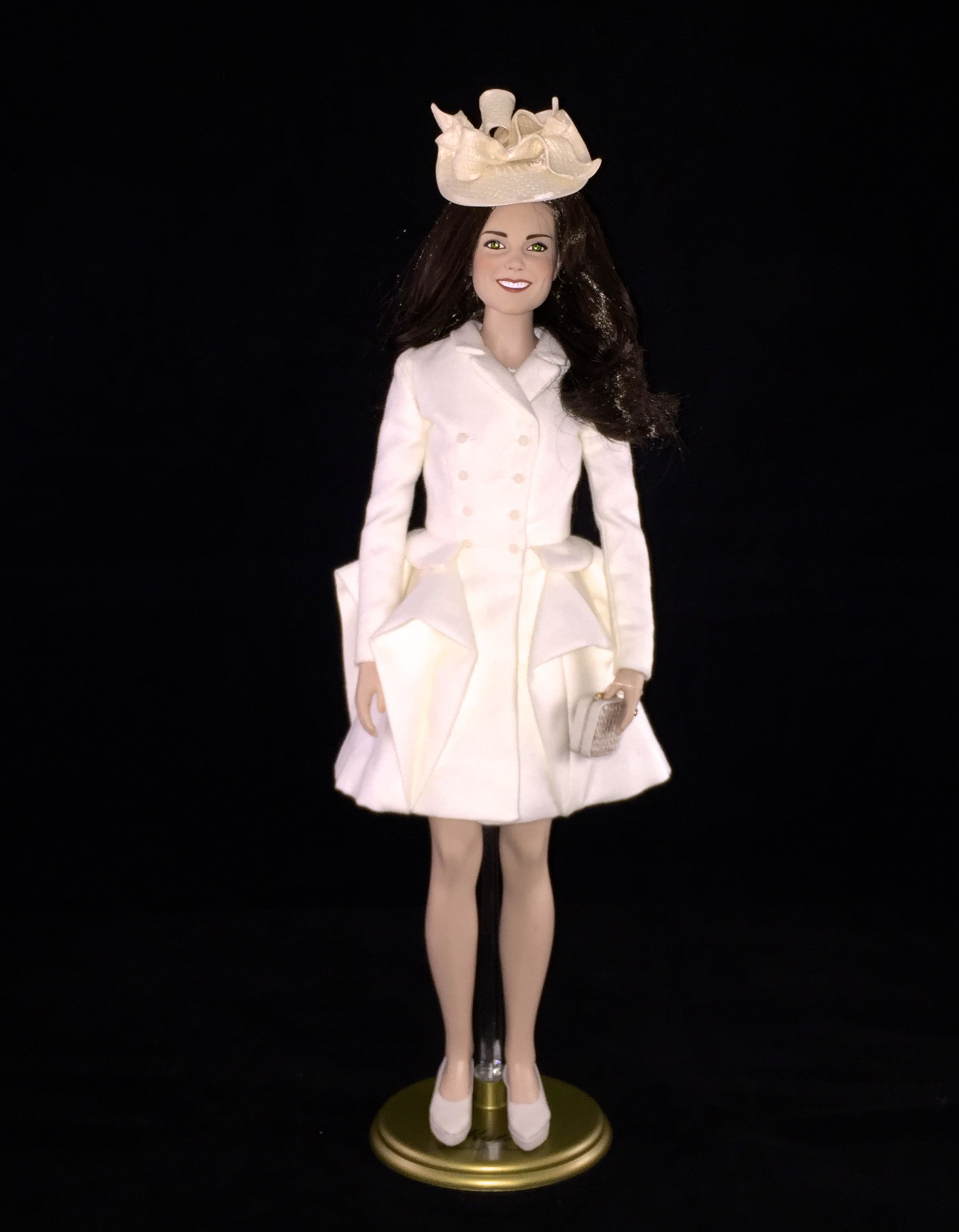 This is a custom replica of the cream ruffled coat dress