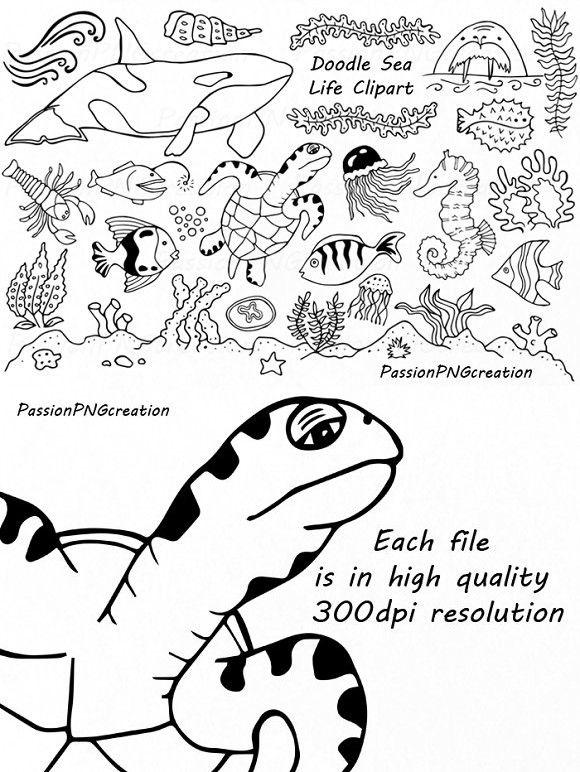 Doodle Marine Life Clipart Wedding Card Templates