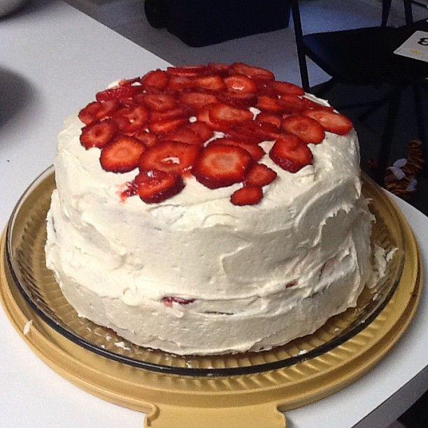 My Strawberry Cream Cheese 2 Layer Cake Is Done