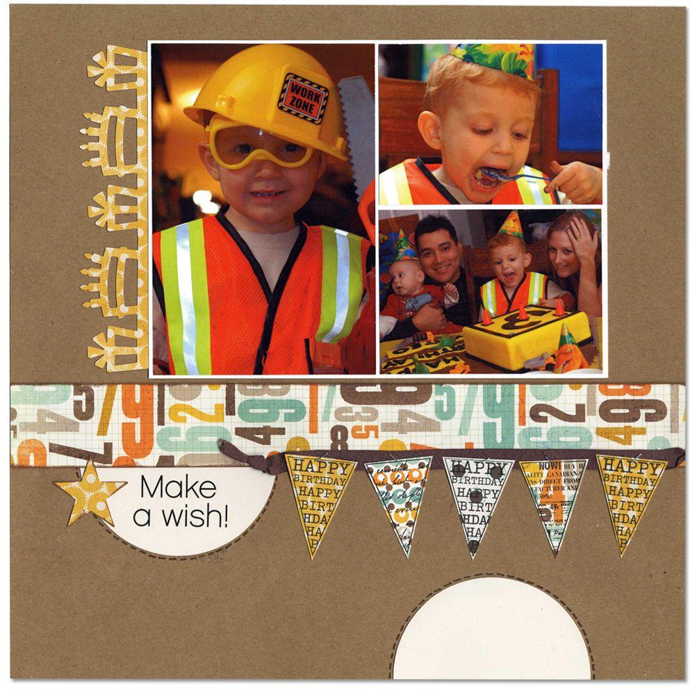 How to make scrapbook for birthday - Make A Wish Birthday Layout Scrapbook
