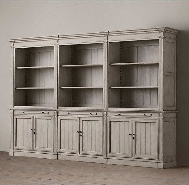 Rh S Library Triple Shelving Our Solid Wood Bookcase System Is Constructed With The Same Care