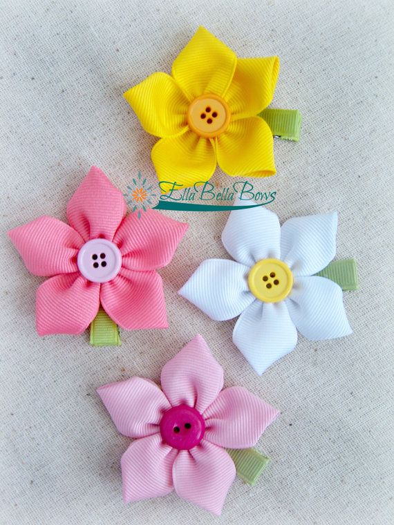 Large Starflower Ribbon Sculpture Hair Clip, One (1) on Etsy, $5.50 #hairclips