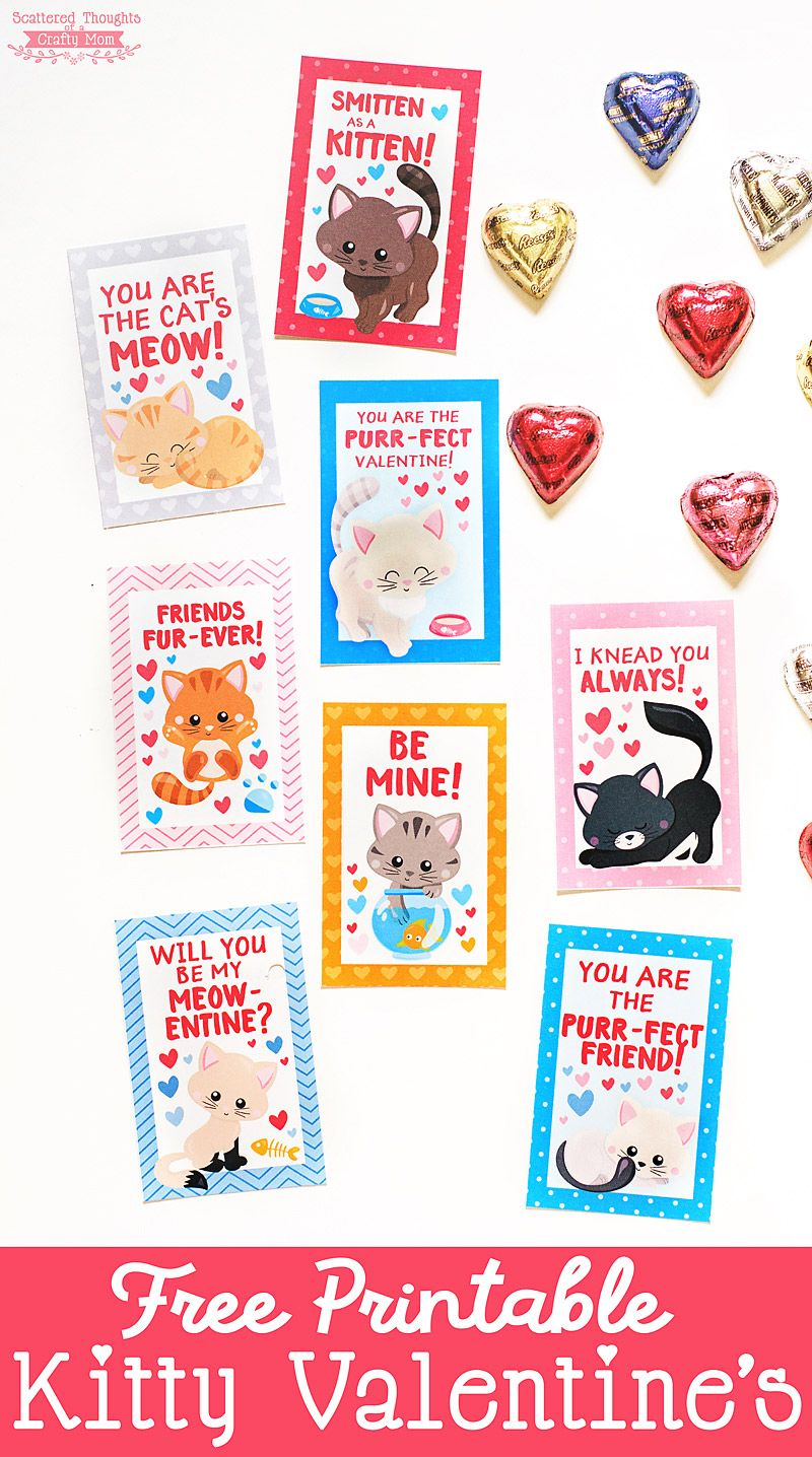 photo relating to Printable Kitten Pictures titled Free of charge Printable Kitten Valentines Crafts - Scattered