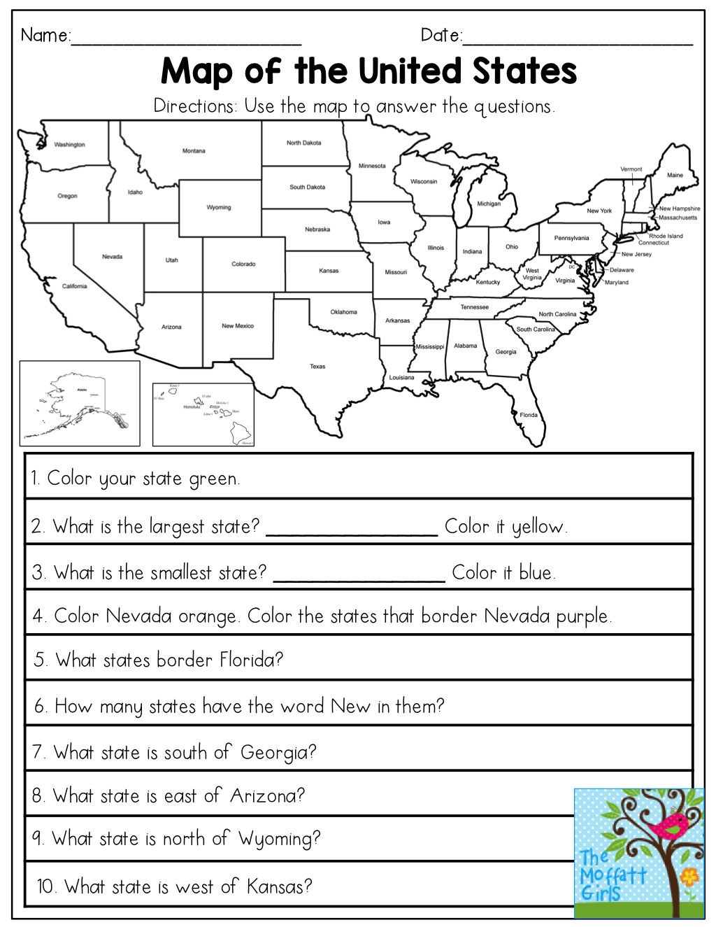 Map of the United States- answer the questions. This November NO PREP  Packet for…   Social studies worksheets [ 1325 x 1024 Pixel ]