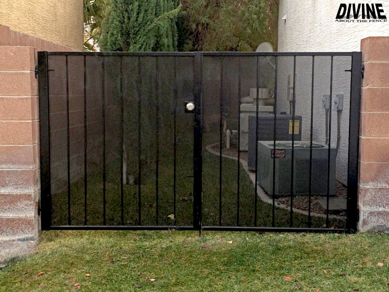 Black iron side gate installed by Divine About The Fence in Las Vegas, Nevada.