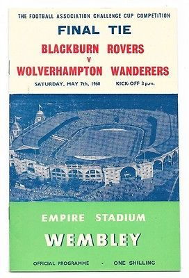 1960 FA Cup Poster of Programme Blackburn Wolves