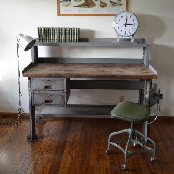 mid set vintage black hairpin desk item angled furniture industrial metal of table legs computer century long