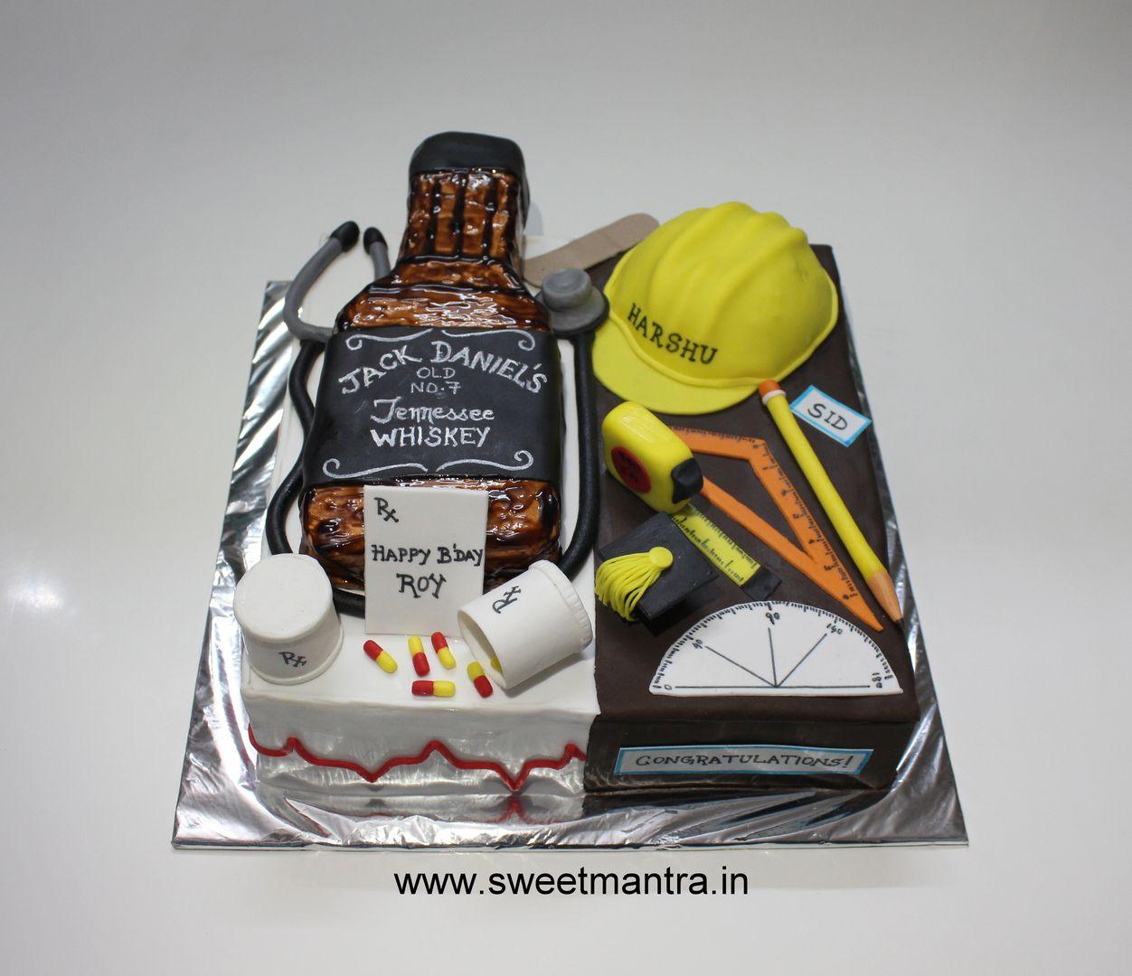 Homemade Eggless 3D Custom Doctor And Civil Engineer Theme Birthday Cake For Friend At Baner Pune