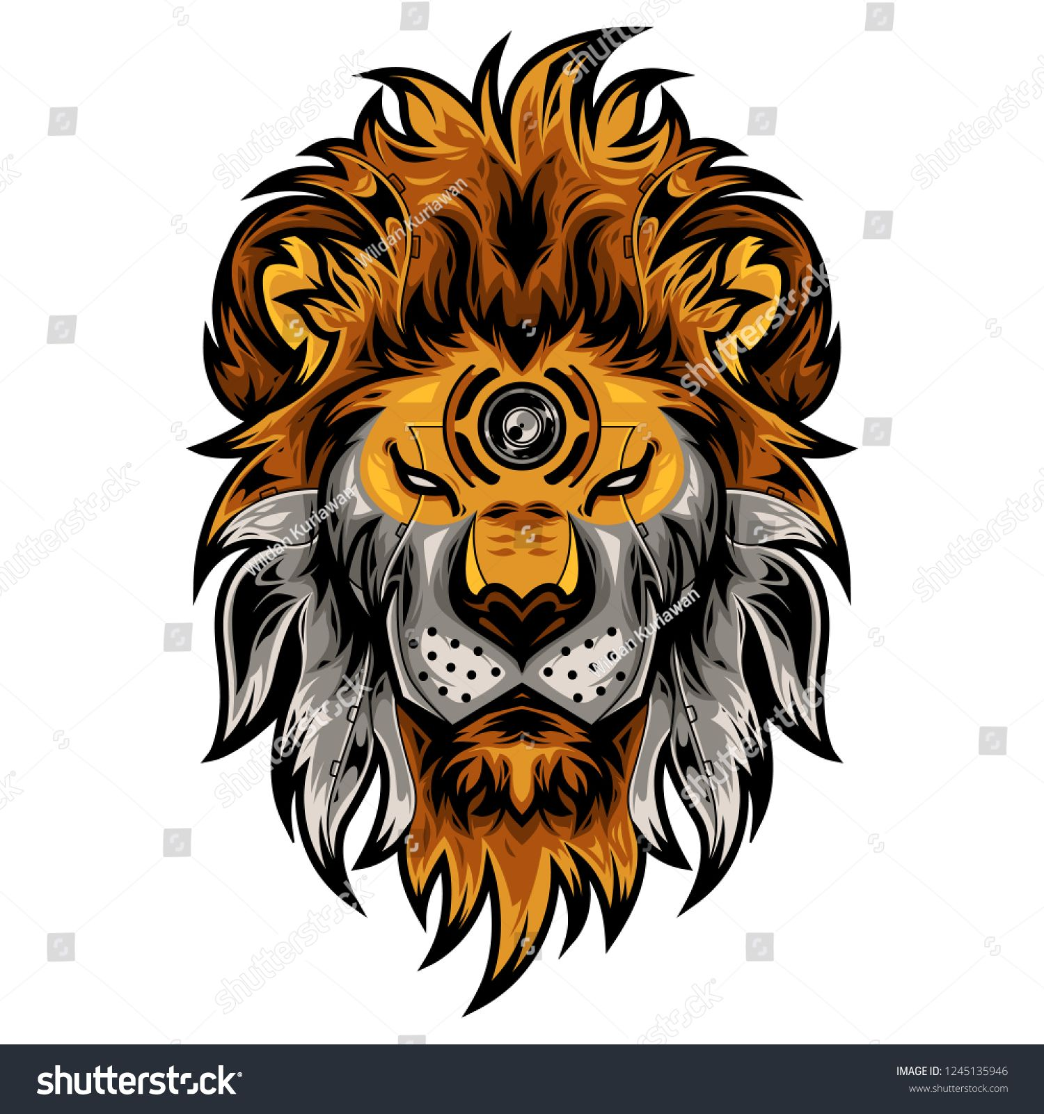 Perfect Lion Head Vector Illustration In White Background