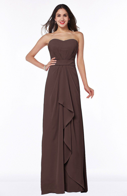 ef058c1ebcdc Chocolate Brown Bridesmaid Dress - Traditional Strapless Zip up Chiffon  Floor Length Plus Size Maxi