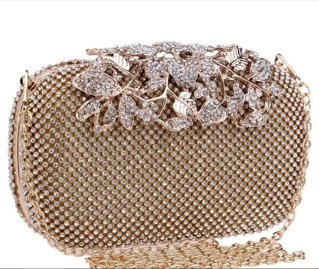 Double Size Silver Or Gold Diamond Clutch Evening Bags Flower Clasp Handbags Party Women Chains Bag