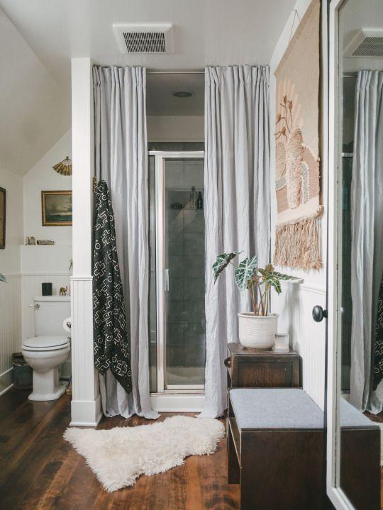 homestead seattle  home double shower curtain bathroom