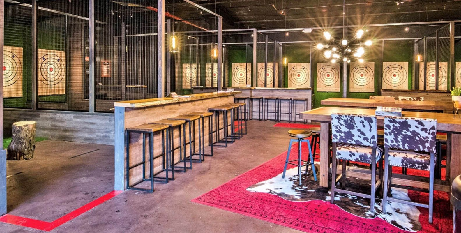 Forget Your Typical Game Of Darts Gowanus Brooklyn Is Now Home To A 7 000 Square Foot Bar That Specializes In The Competitive Spo Axe Outdoor Wood Bar Design