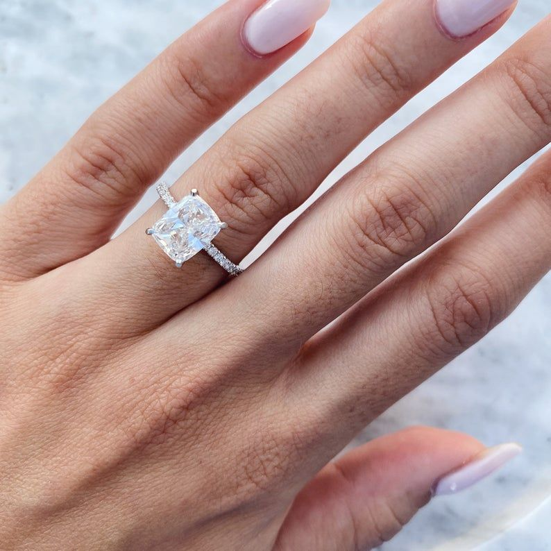 Details about  /Flower Shape Round Cut Diamond Elegant Promise Birthday Ring 14K White Gold Over