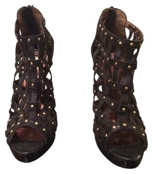 Nyla Peep Toe Open Studded Detail Size 9.5 Black Boots $47